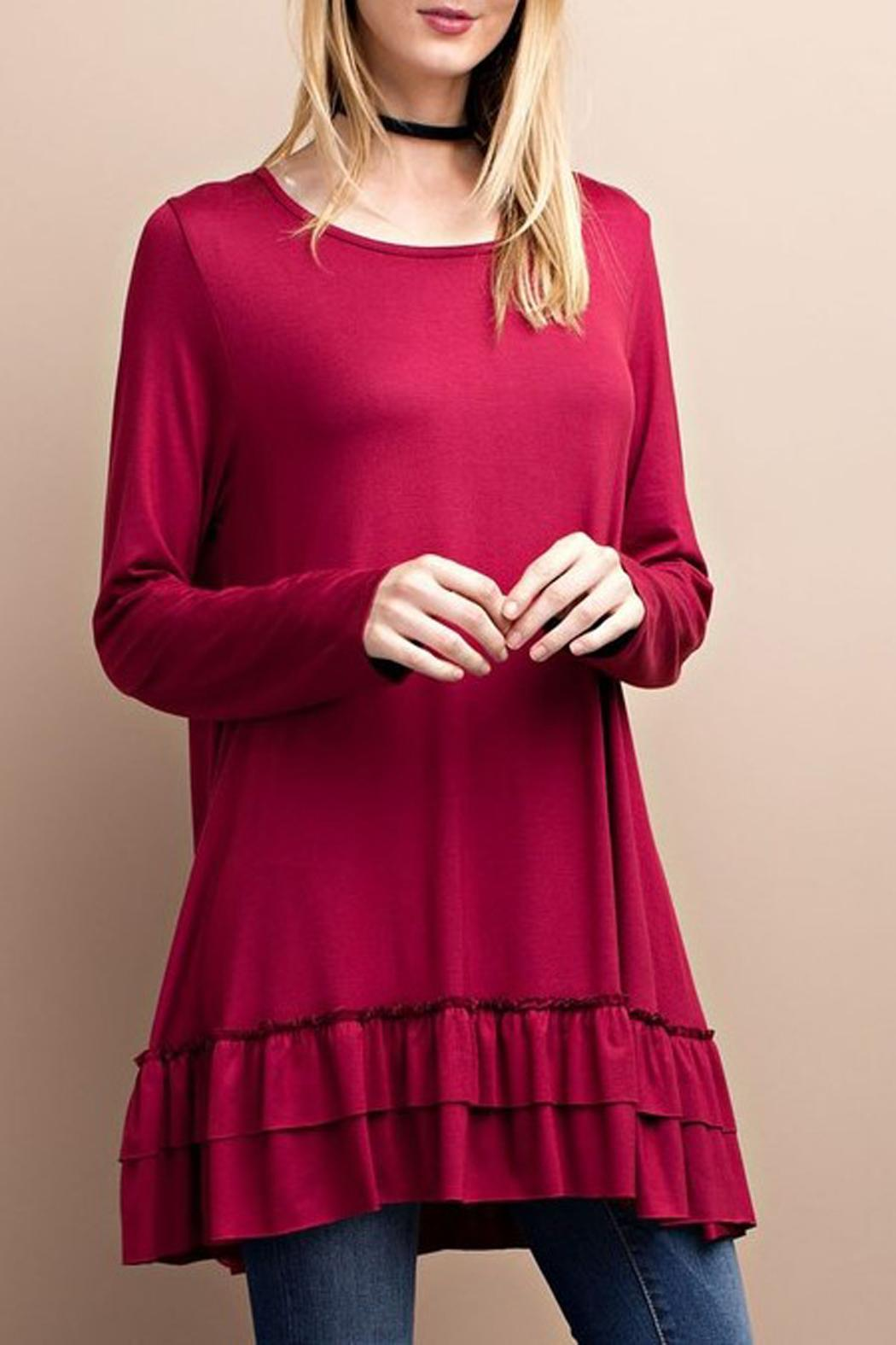 76a1da429bc easel Ramona Cranberry Ruffle Tunic from Kentucky by Lennon & Lace ...