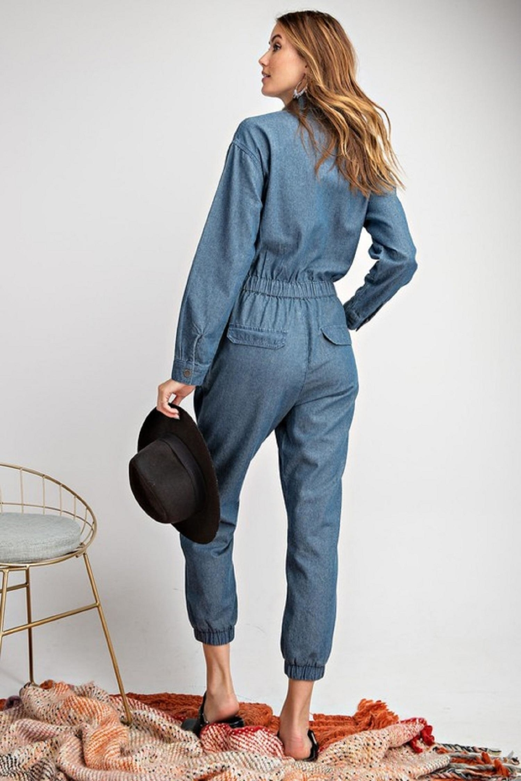 easel Denim Jumpsuit - Front Full Image