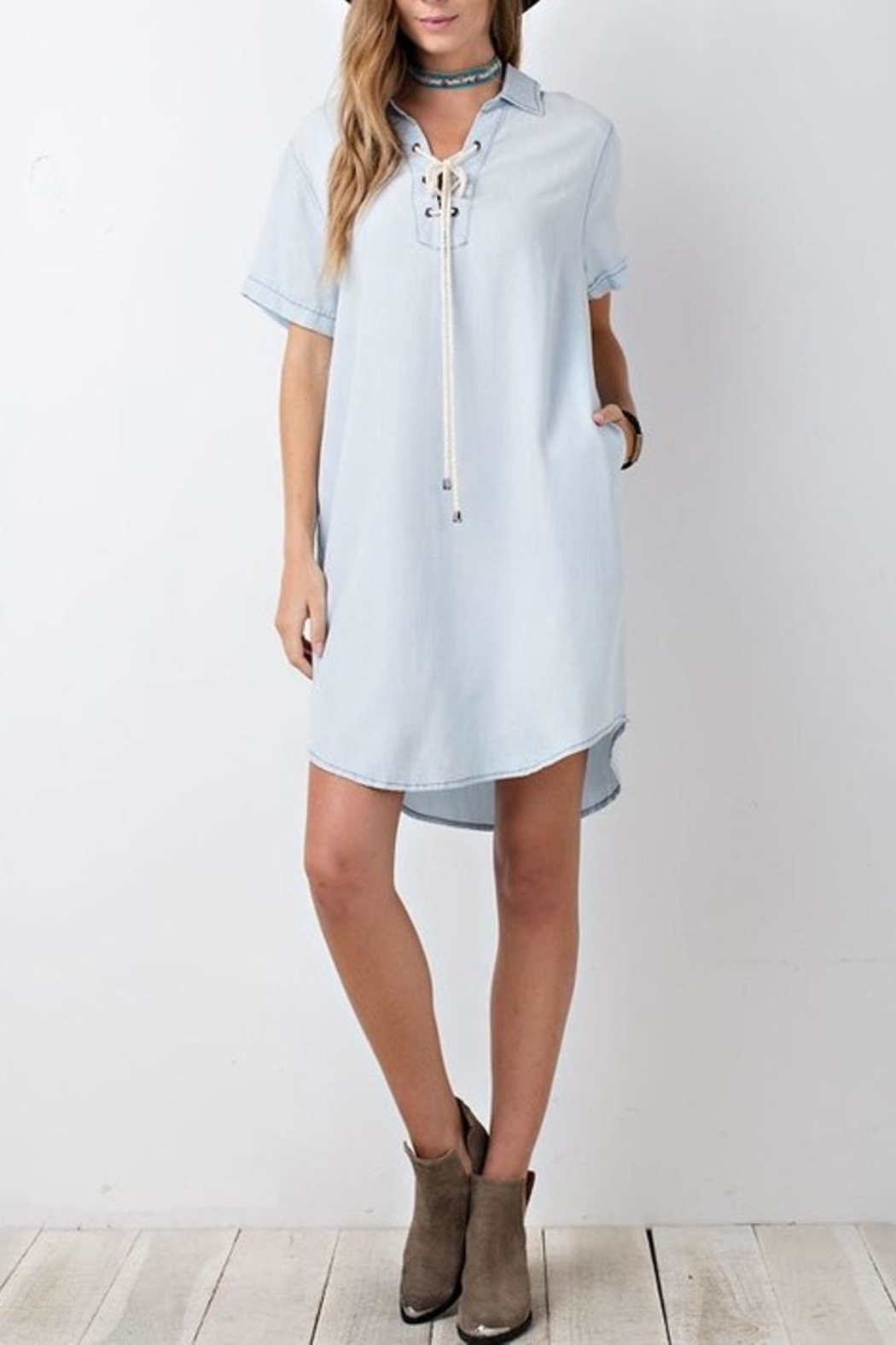 easel Denim Shirt Dress - Front Full Image