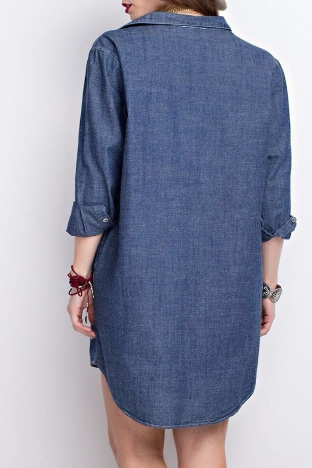 easel Denim Shirt Dress - Side Cropped Image