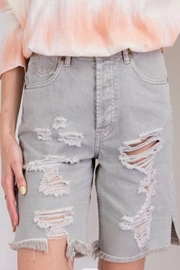 easel Distressed Grey Shorts - Front cropped