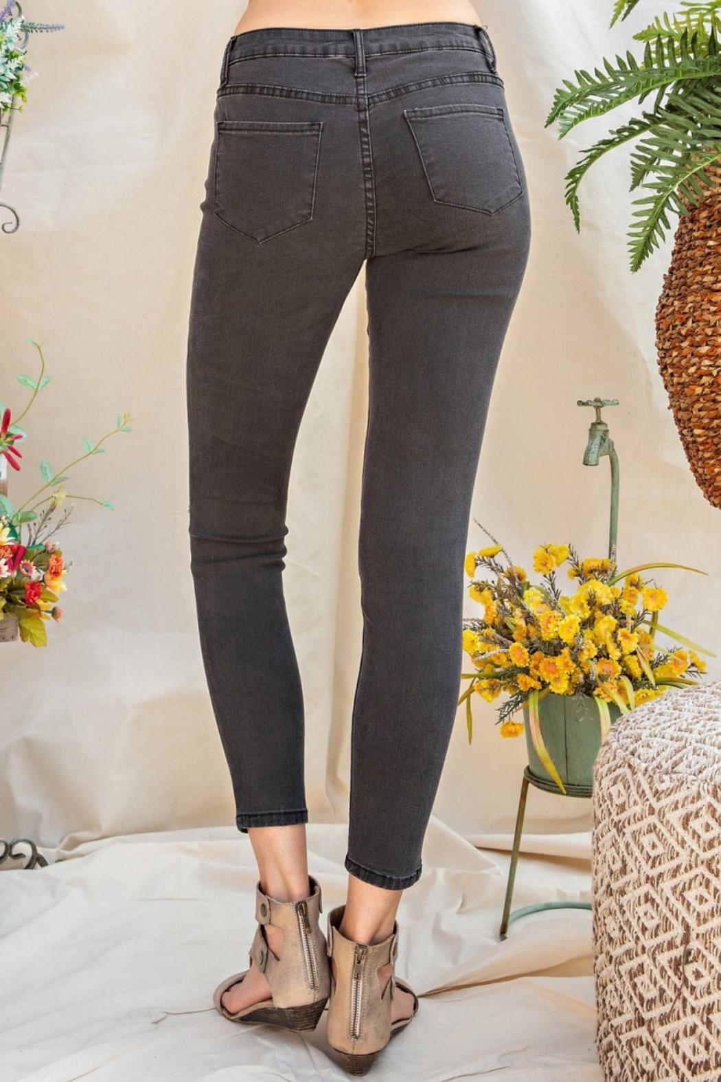 easel Distressed Skinny Jeans - Front Full Image