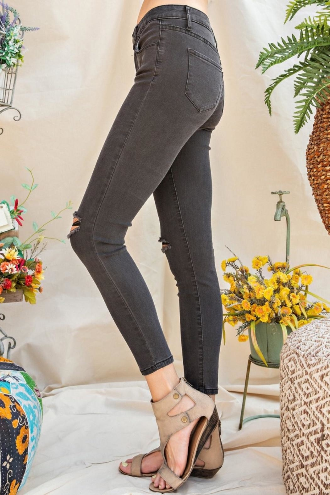 easel Distressed Skinny Jeans - Back Cropped Image