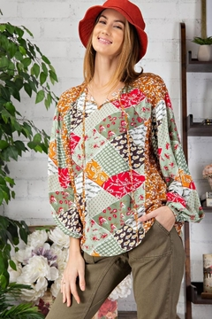 Shoptiques Product: Ditsy Floral Patchwork Print Blouse Top