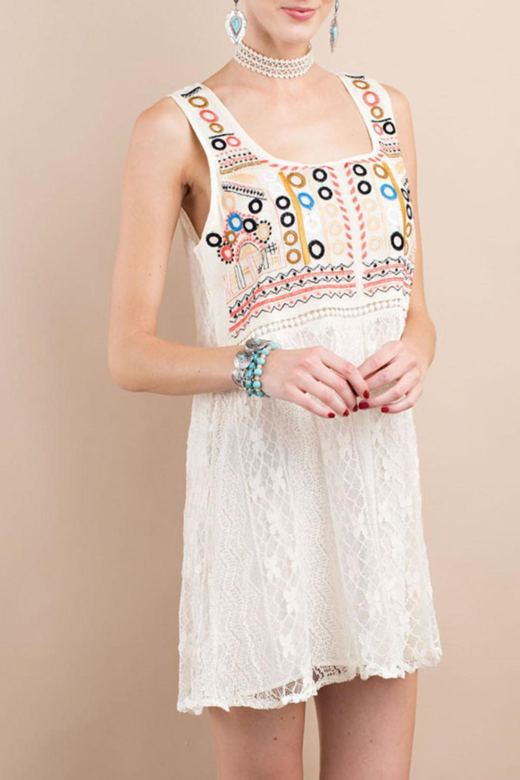 easel Dotted Lace Dress - Main Image