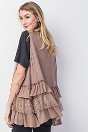 easel Double Ruffle Cardigan - Back cropped