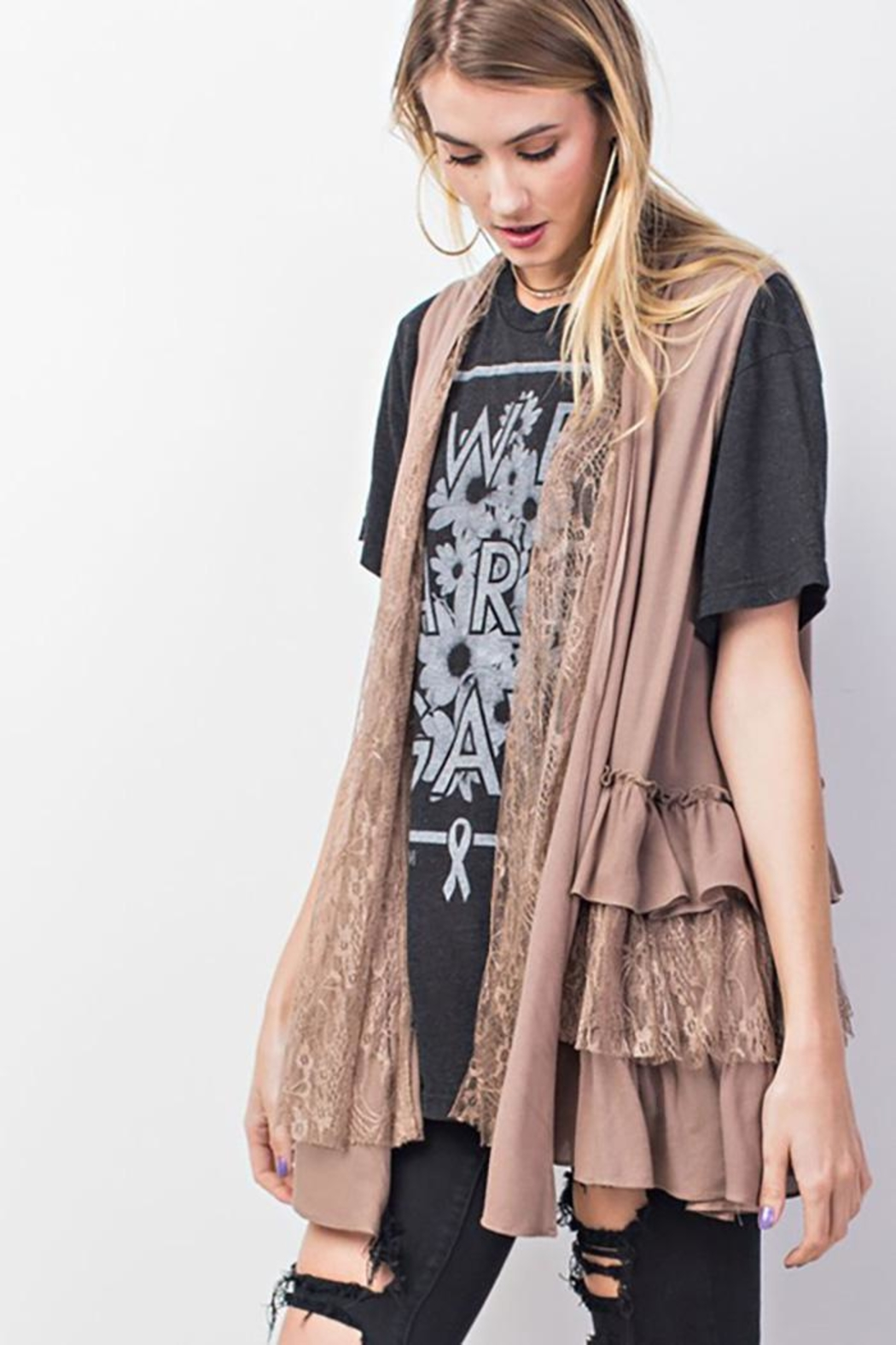 easel Double Ruffle Cardigan - Side Cropped Image