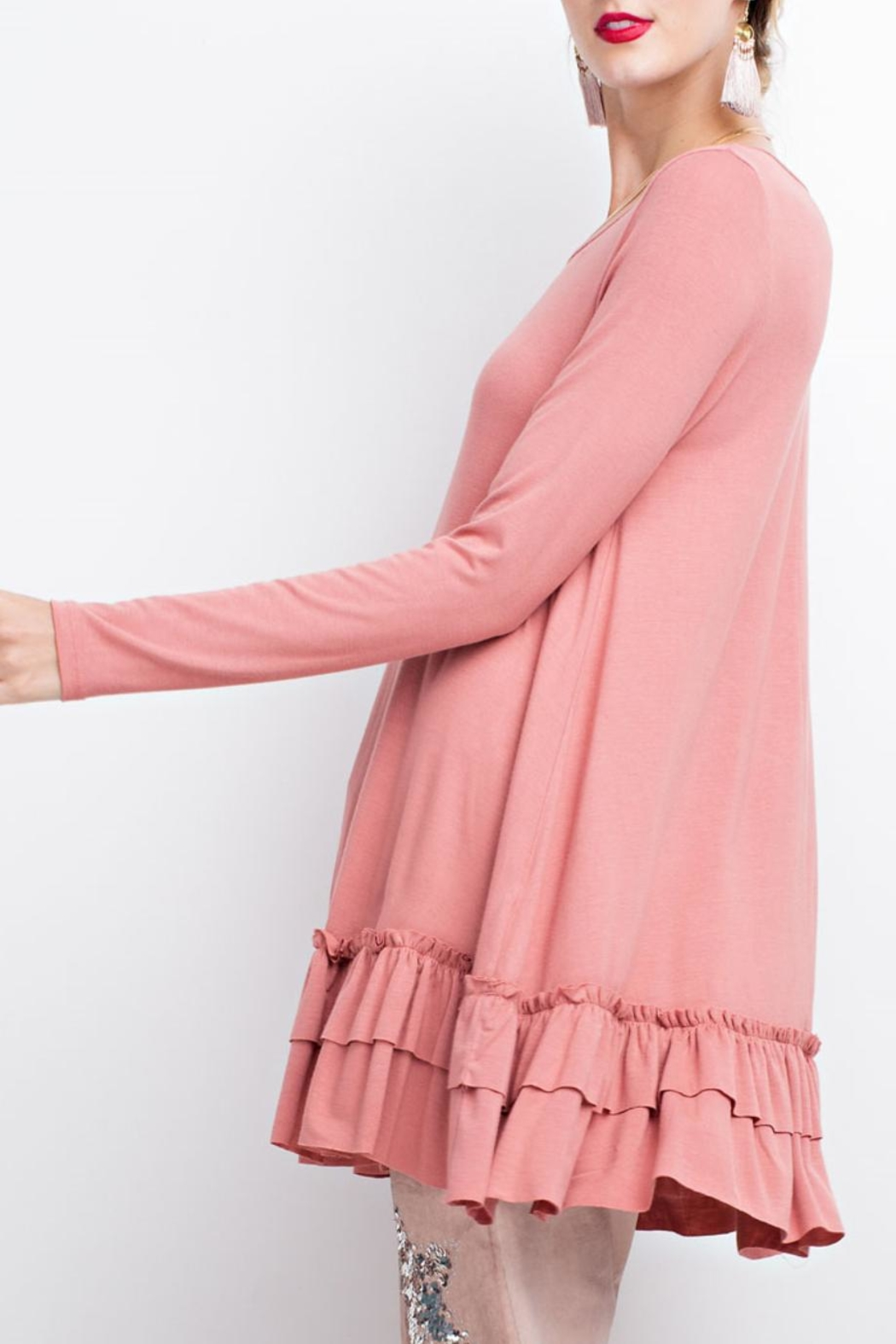 easel Double Ruffle Tunic - Side Cropped Image