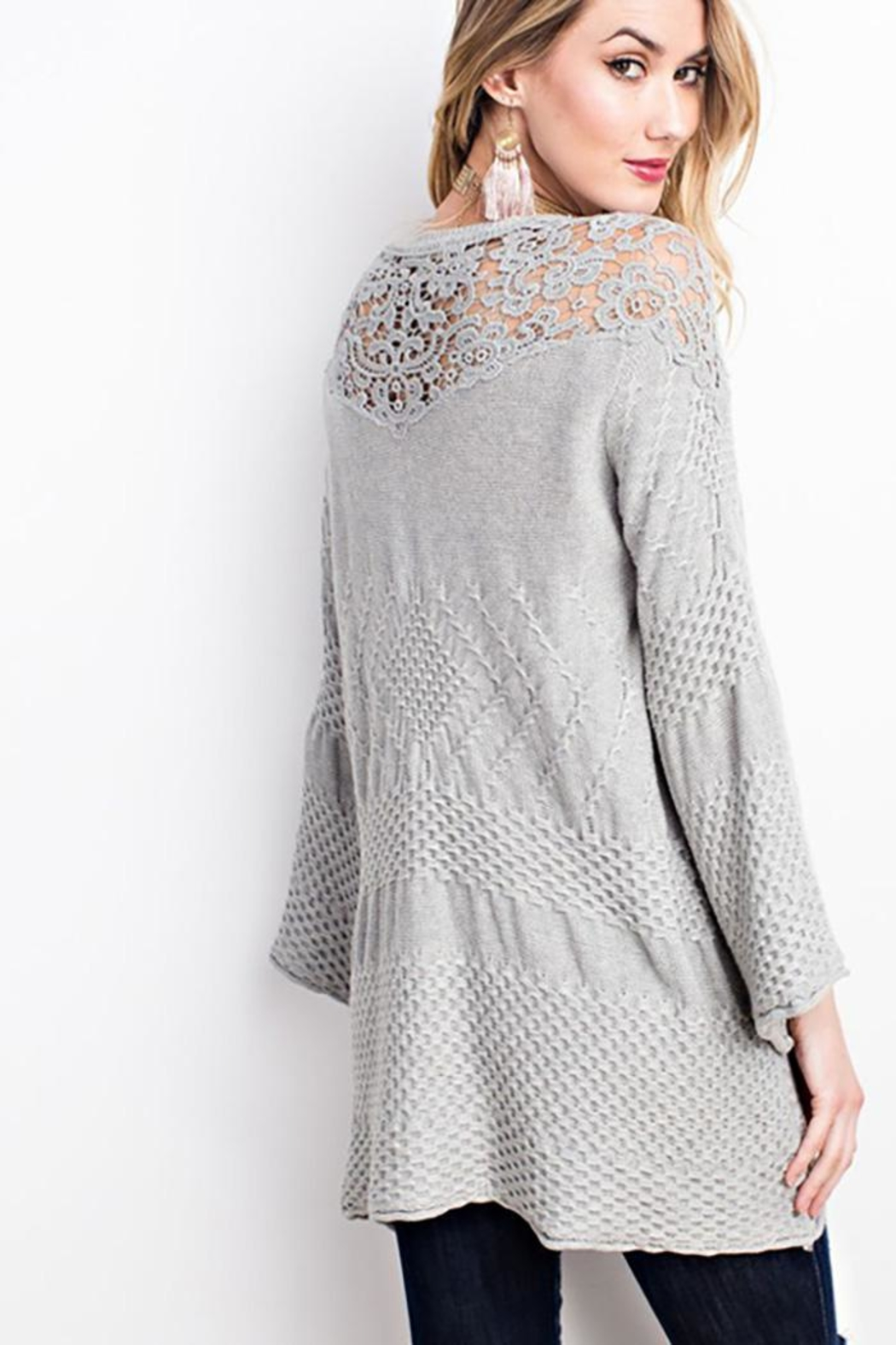 easel Drapey Asymmetrical Sweater - Back Cropped Image