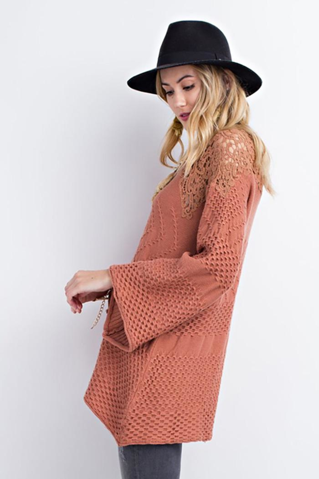 easel Drapey Asymmetrical Sweater - Side Cropped Image