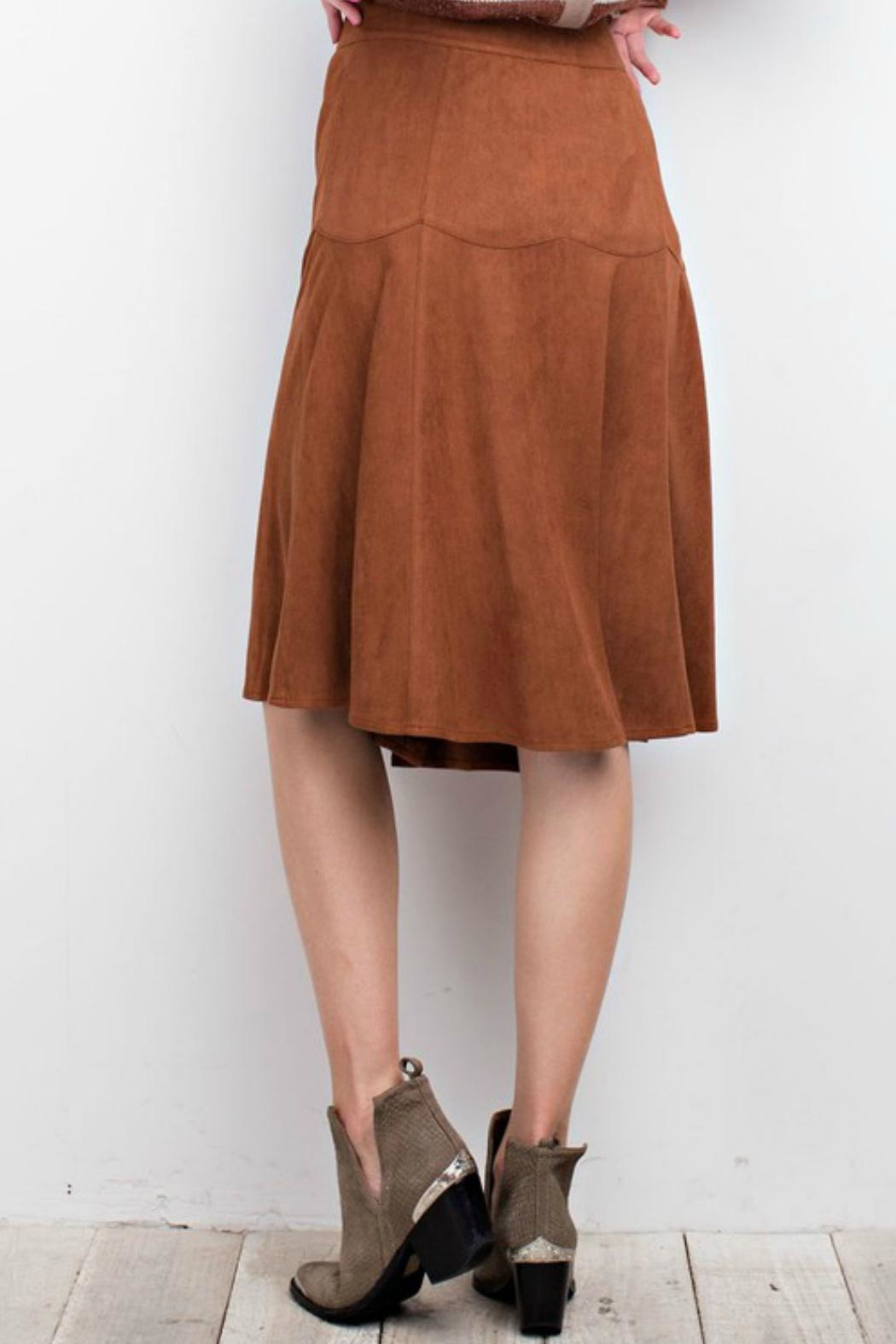 easel Faux Suede Skirt - Front Full Image