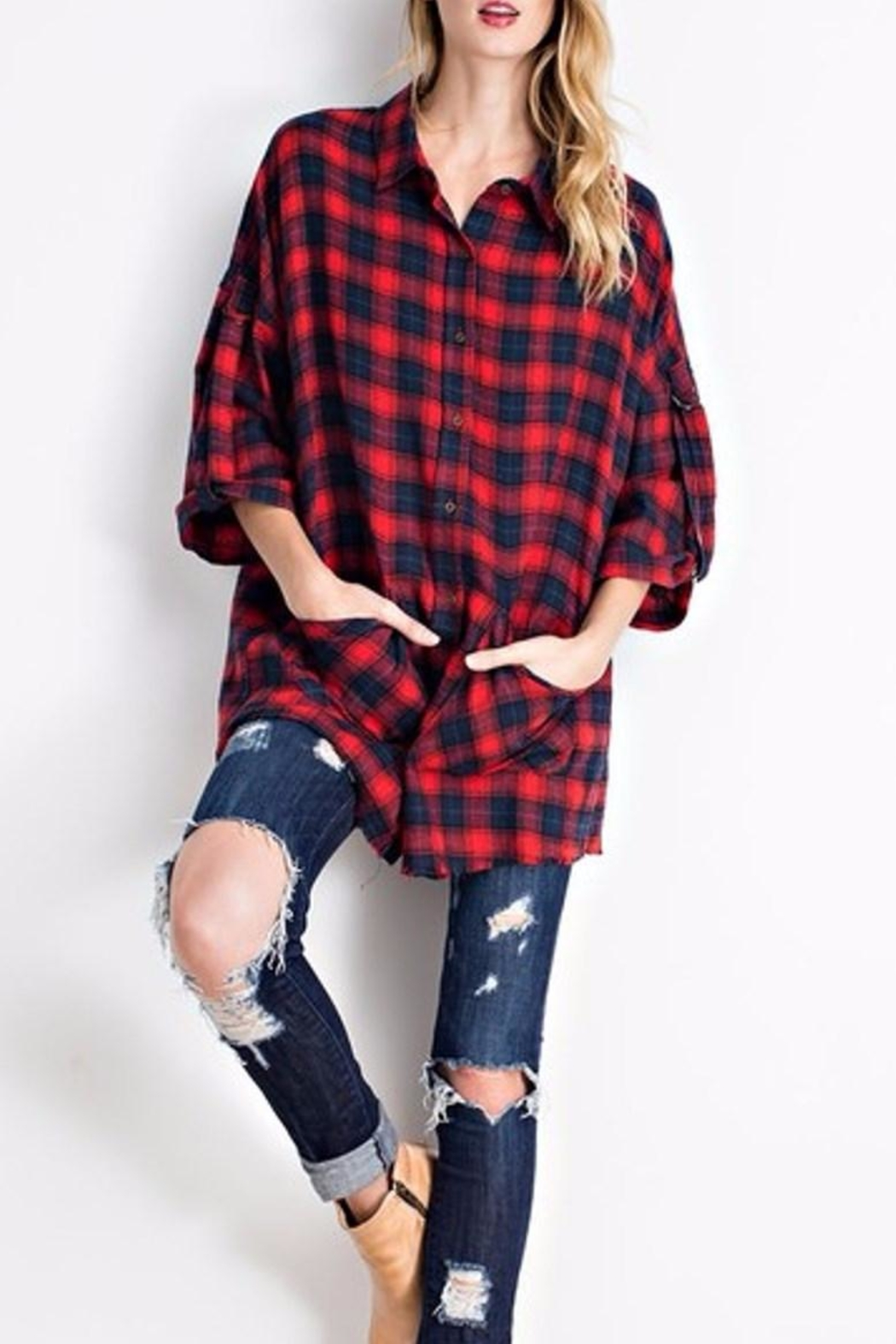 easel Flannel Button Down - Side Cropped Image