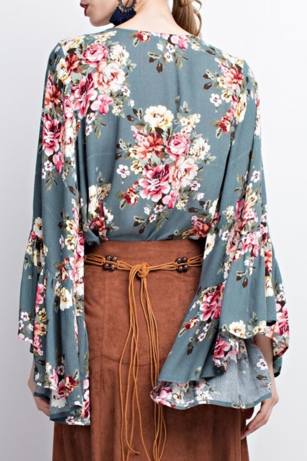easel Floral Bell Sleeve Blouse - Front Full Image