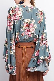 easel Floral Bell Sleeve Blouse - Front full body