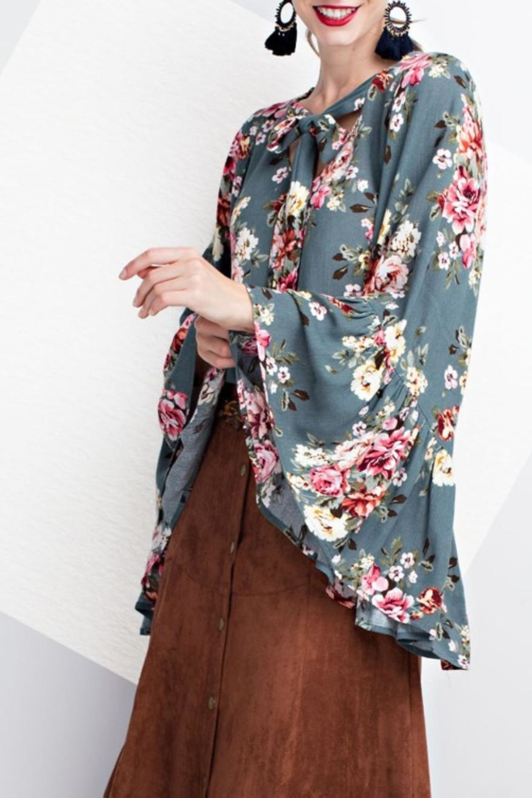easel Floral Bell Sleeve Blouse - Main Image