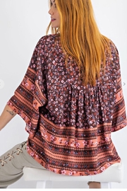 easel Floral Border Print Top - Front full body
