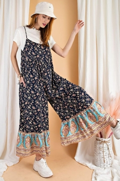 easel Floral Border Printed Maxi Jumpsuit - Product List Image