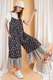 easel Floral Border Printed Maxi Jumpsuit - Front cropped