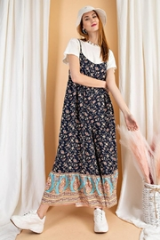 easel Floral Border Printed Maxi Jumpsuit - Side cropped