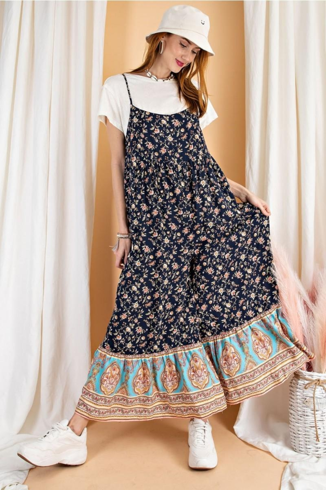 easel Floral Border Printed Maxi Jumpsuit - Front Full Image