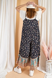 easel Floral Border Printed Maxi Jumpsuit - Other