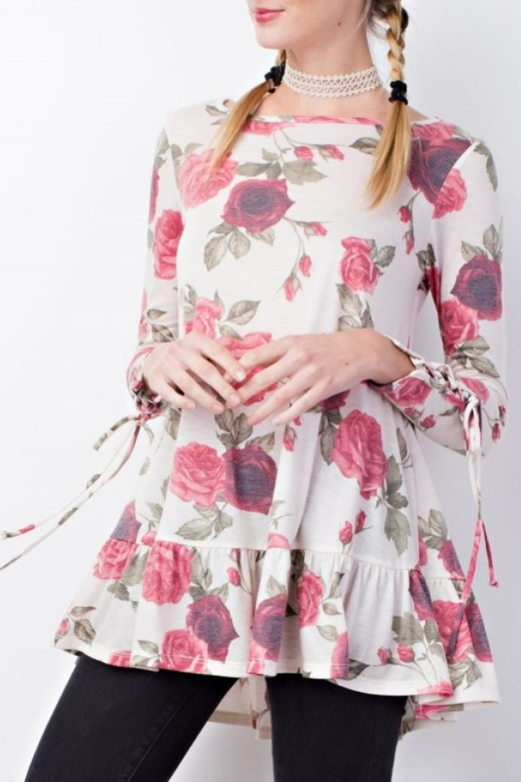 easel Floral Details Top - Front Cropped Image