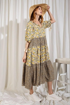 easel Floral Printed Mix n Match Puff Sleeves Ruffled Dress - Product List Image