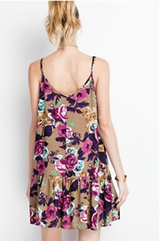 easel Floral Tan Dress - Front full body