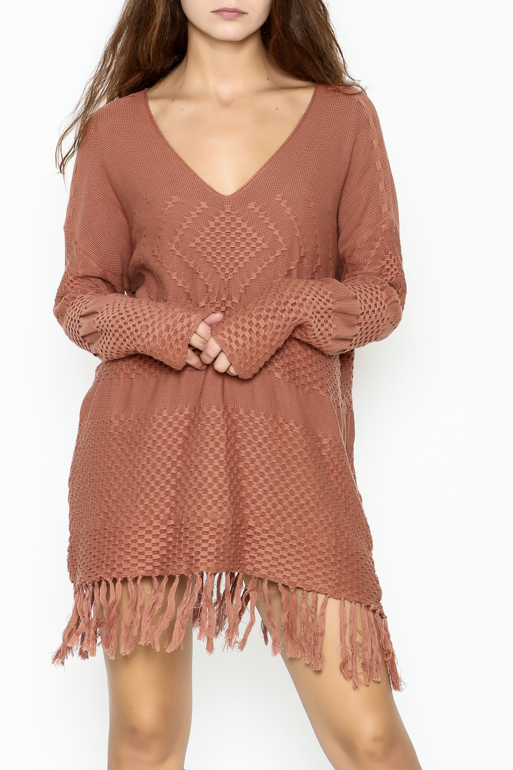 easel Fringe Weave Sweater - Front Cropped Image
