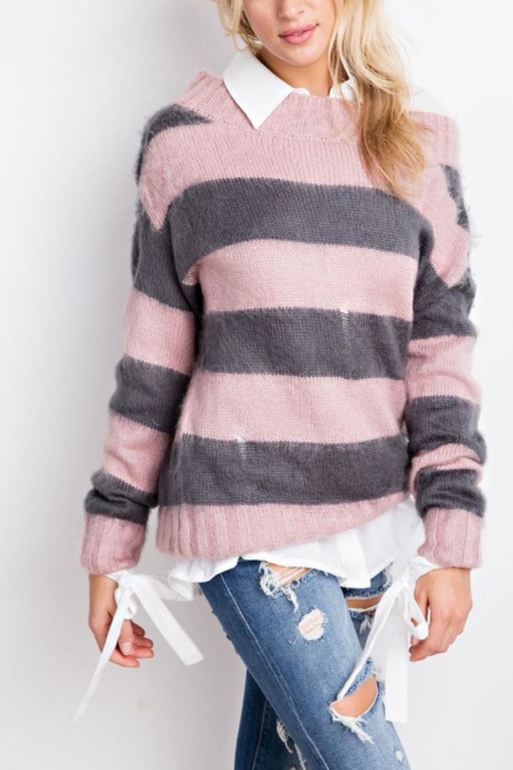 easel Fuzzy Crop Sweater - Front Full Image