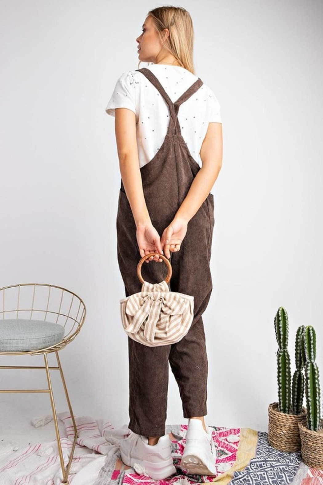easel Green Corduroy Jumpsuit - Front Full Image
