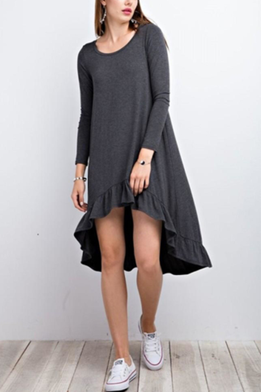 easel Grey Dress - Front Cropped Image