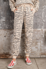 easel EASEL Zebra Cotton Pullover & Jogger Loungewear Set - Side cropped