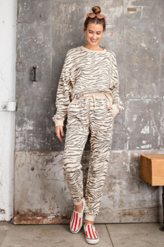 Easel  EASEL Zebra Cotton Pullover & Jogger Loungewear Set - Product List Image