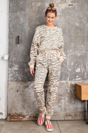 Easel  EASEL Zebra Cotton Pullover & Jogger Loungewear Set - Product Mini Image