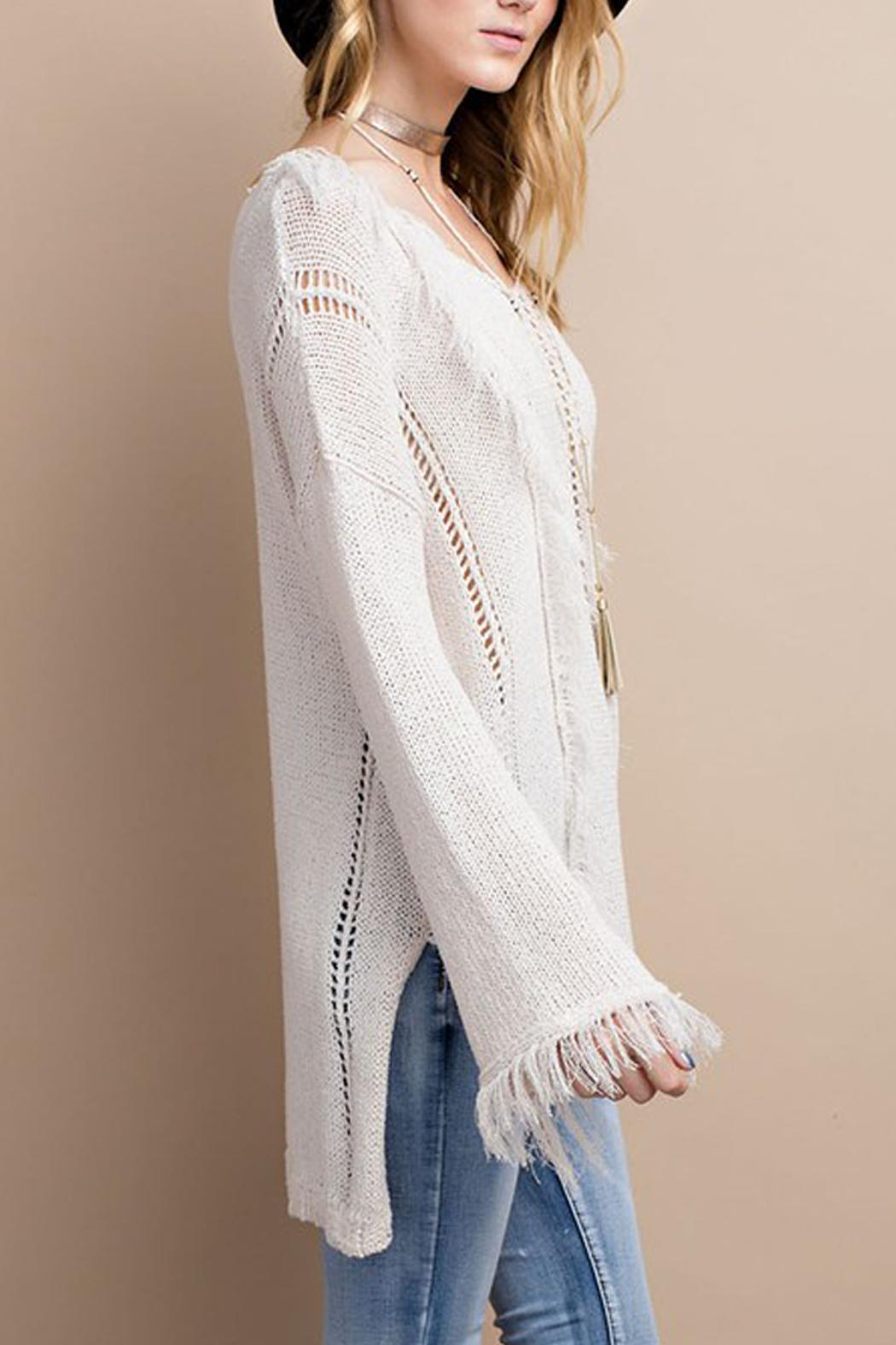 easel Knitted Fringe Sweater - Side Cropped Image