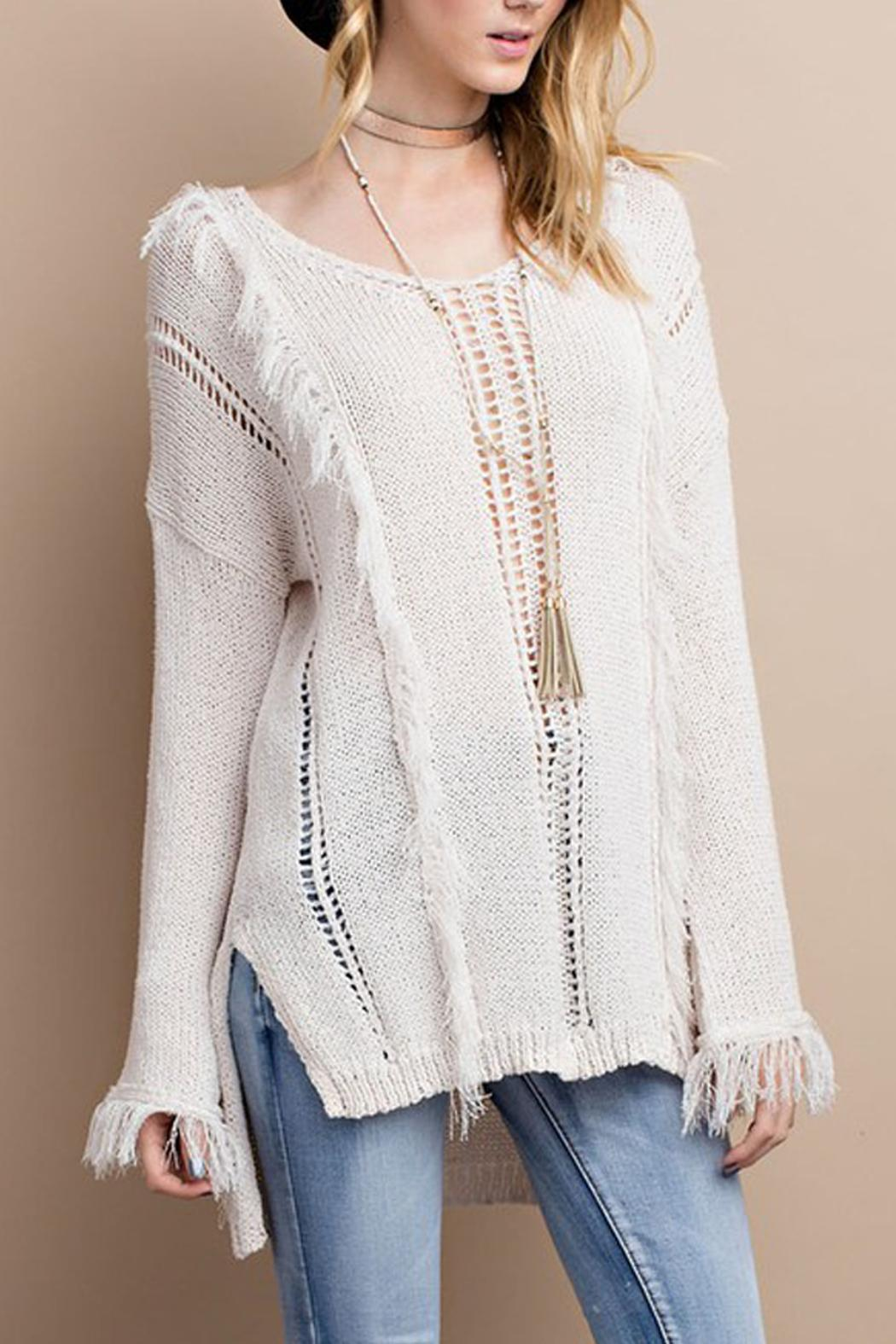 easel Knitted Fringe Sweater - Main Image