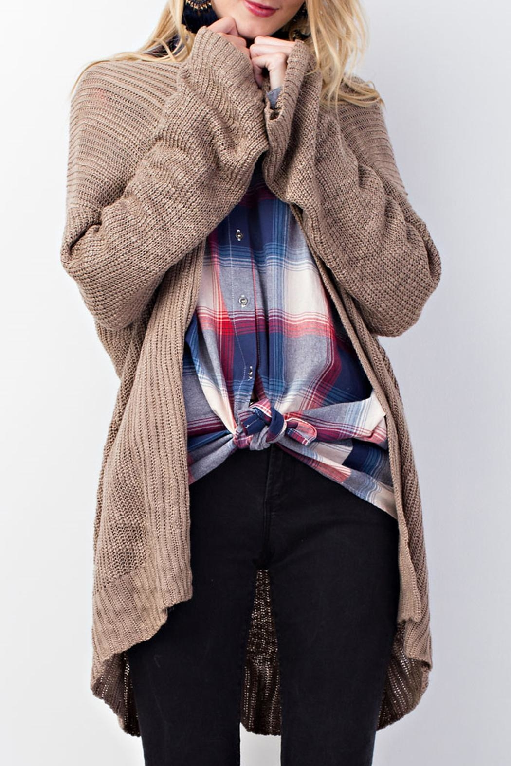 easel Knitted Sweater Cardigan - Front Cropped Image