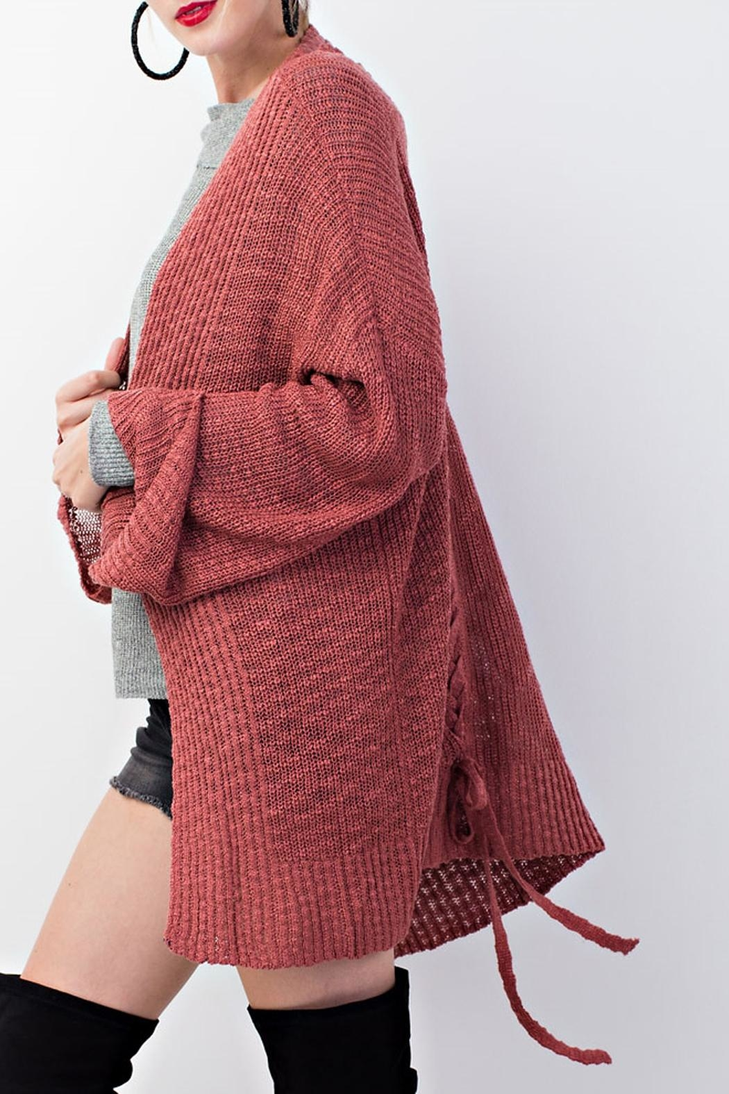 easel Knitted Sweater Cardigan - Front Full Image