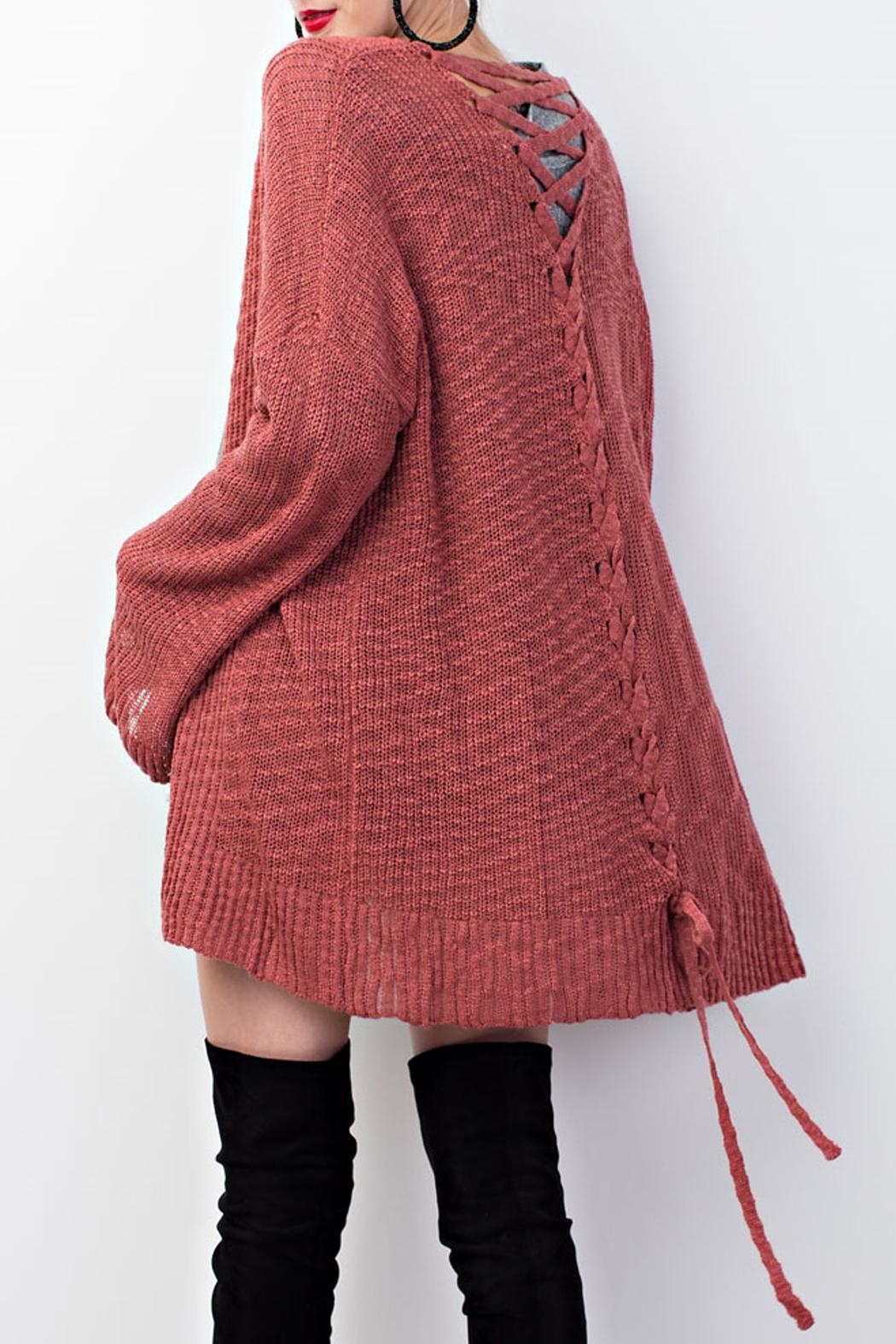 easel Knitted Sweater Cardigan - Side Cropped Image