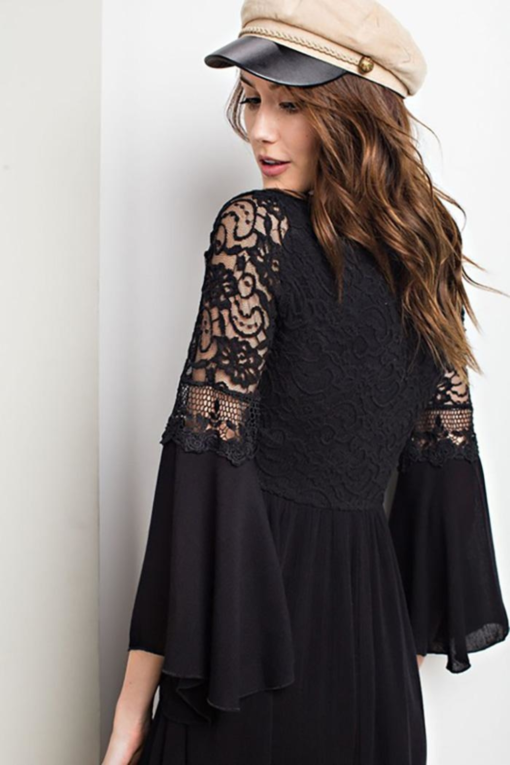 easel Lace Bell Sleeve-Dress - Back Cropped Image