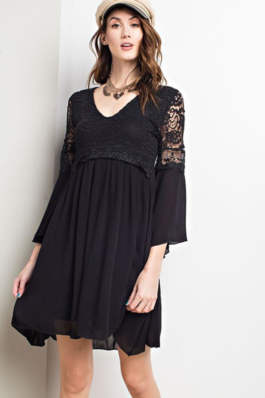 easel Lace Bell Sleeve-Dress - Main Image