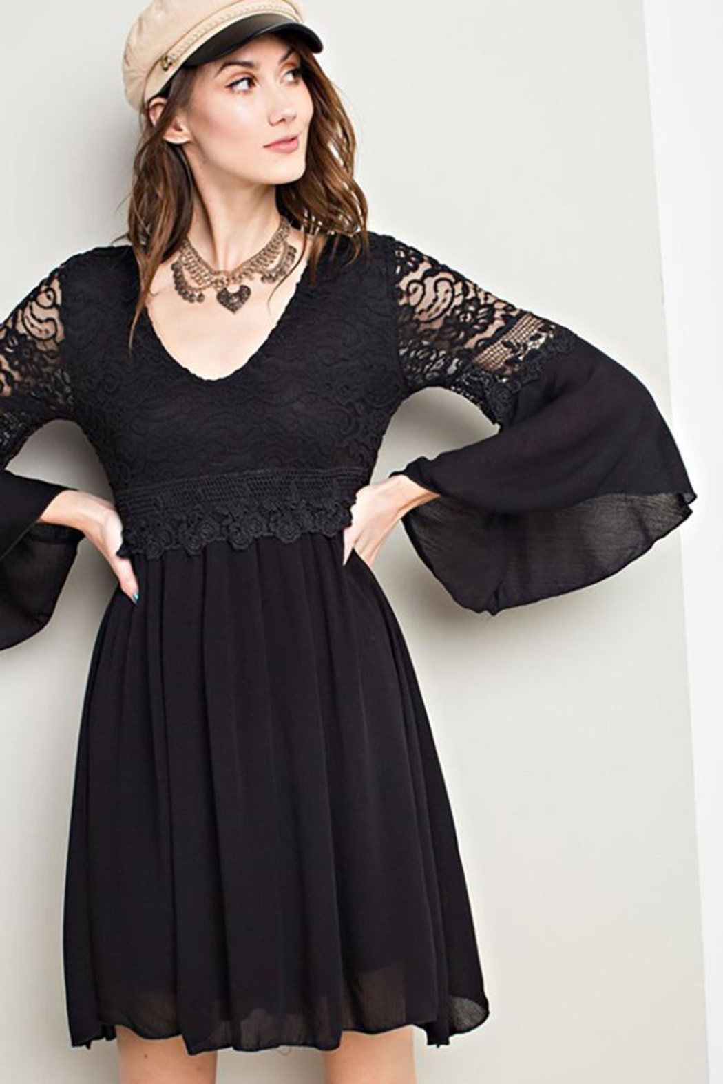 easel Lace Bell Sleeve-Dress - Side Cropped Image