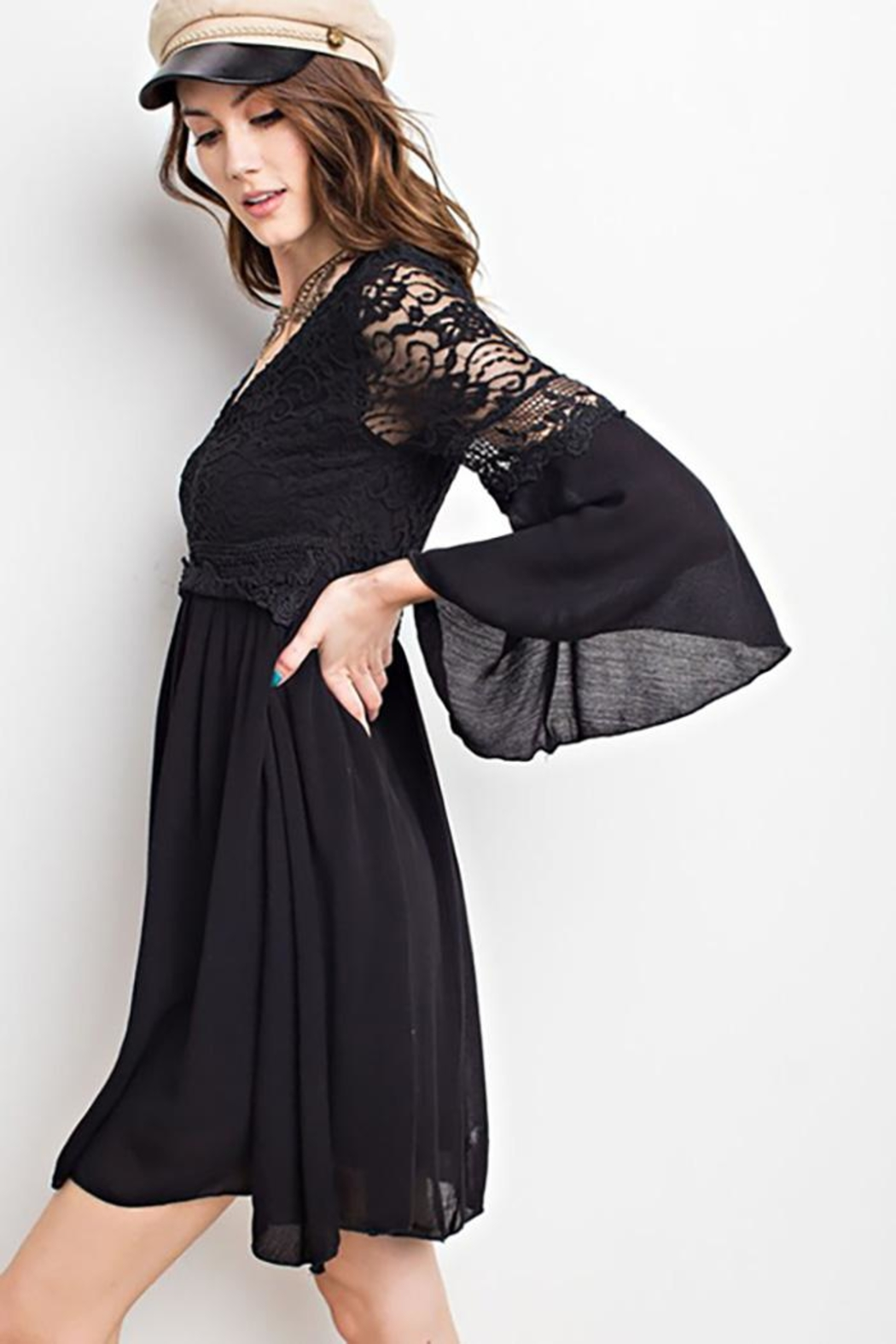 easel Lace Bell Sleeve-Dress - Front Full Image