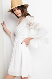 easel Lace Bell Sleeve-Dress - Back cropped