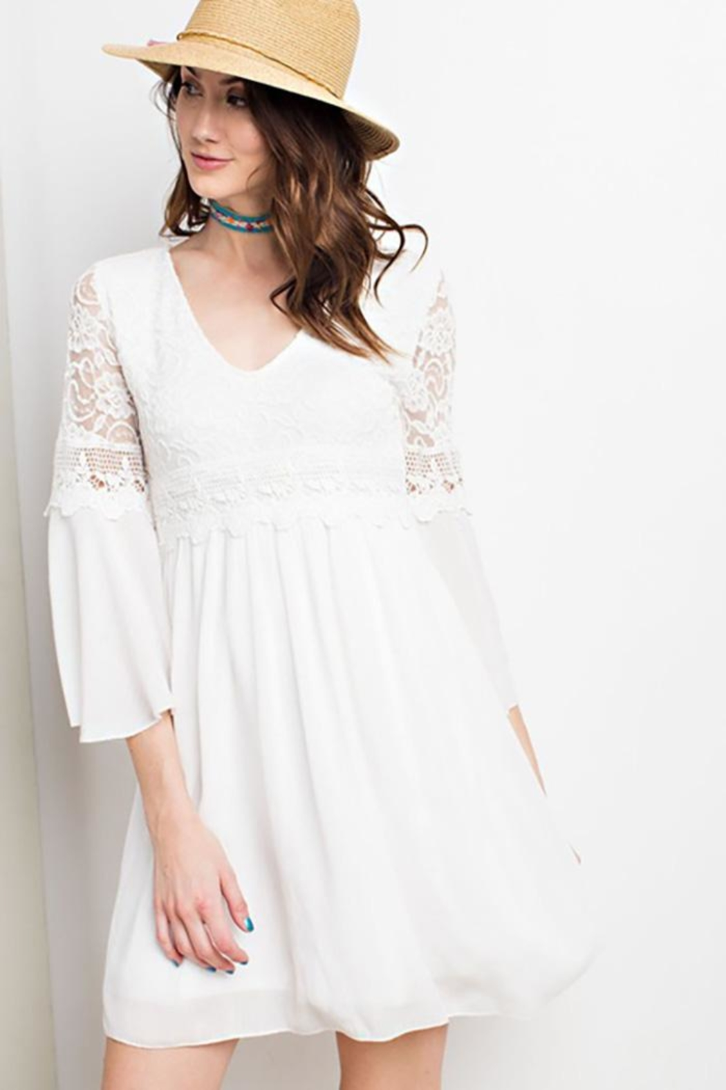 easel Lace Bell Sleeve-Dress - Front Cropped Image
