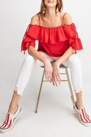 easel Riley Lace-Up Off-The-Shoulder - Front full body