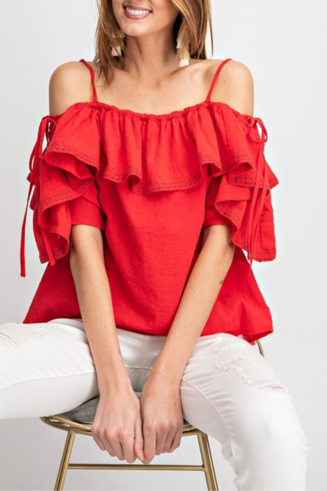 easel Riley Lace-Up Off-The-Shoulder - Main Image