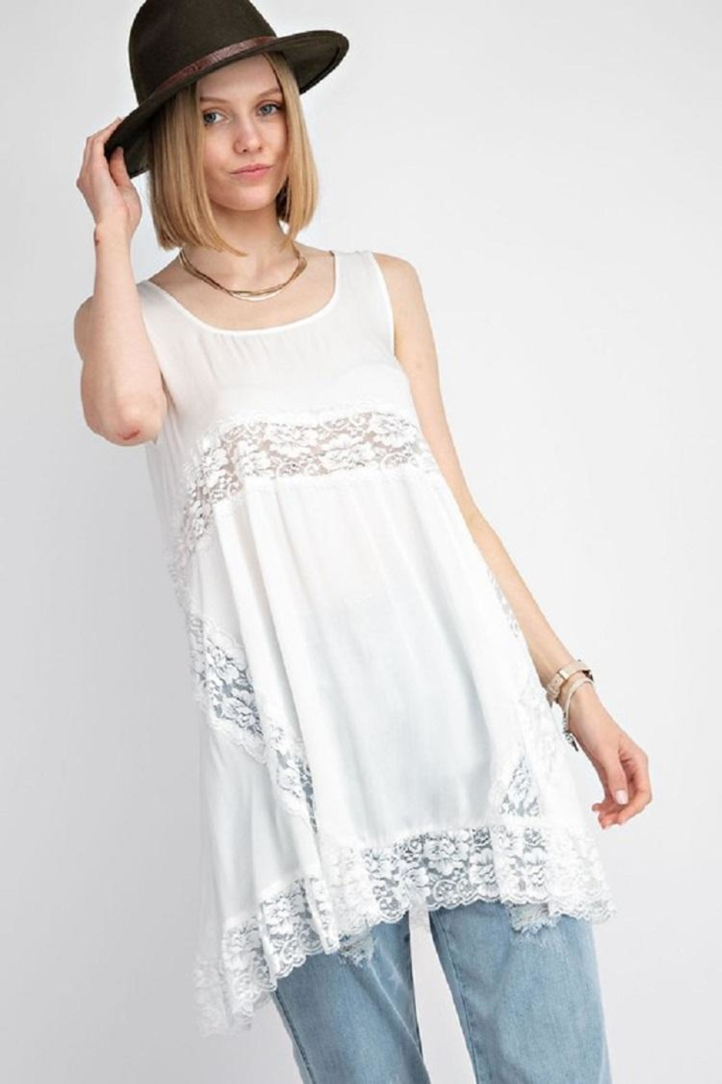 easel Lacy Flowy Top - Main Image