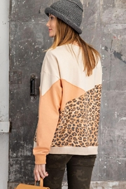 easel Leopard Mixed Color Block Long Sleeves French Terry Sweatshirt Pullover - Other